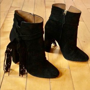 🔥Aquazzura Black Suede Chunky Ankle Boots Fringed